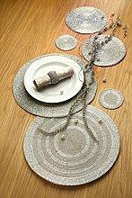 ecomserv Platzset Glasperlen, 35 cm, Silber, 4er Se