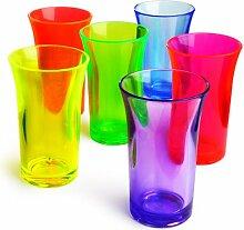Econ Schnapsbecher, Polystyrol, 50ml, Neonfarben, 6Stück