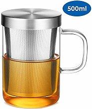 Ecooe Glas Tasse mit Edelstahl sieb und Deckel
