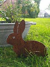 ecosoul Gartendeko Hase mit 2 Stäben Tier Metall