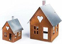 ecosoul Gartendeko Haus mit Metalldach Laterne