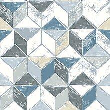 ecosoul Wachstuch-Tischdecke Cubi blau grau
