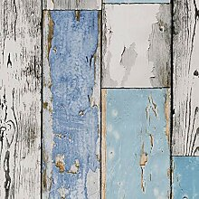 ecosoul Wachstuchtischdecke Scrapwood hellblau