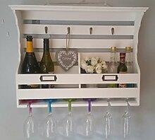 ECP Design Shabby Chic Schrank mit Wein Glas und