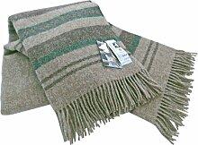 Ecru-beige Wolldecke mit grünen + dunkelbraunen Streifen aus 100% skandinavischer Schurwolle, ca 200x130cm mit Fransen, 860g