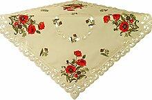 Ecrufarbene Tischdecke in Leinenoptik mit gesticktem Klatschmohn, kräftiges Material, pflegeleichte Mitteldecke, Größe ca. 85cm x 85cm. Die Decke färbt nicht beim waschen und läuft nicht ein.