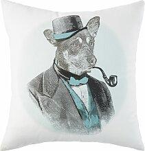 Ecrufarbenes Baumwoll-Kissen mit Hunde-Motiv 45x45