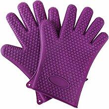 ECYC® Ein Paar Küchenofen Hitzebeständige Silikon BBQ Handschuhe, Lila
