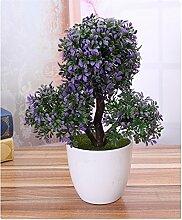 ECYC® Künstliche Blume Trigeminale Topfpflanzen Bonsai Blume Pflanze Pinien, lila