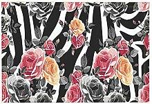 EdCott Abstrakte Animal Print Dekor Rosen Muster