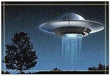 EdCott Blue Night Sky Alien Fliegende Untertasse