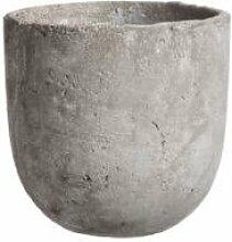Edelman Blumenkübel aus Keramik in Beton-Grau Ø