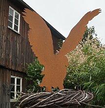 Edelrost Bausatz Adler mit kurzen Metallstäben 75 cm Gartenfigur Greifvogel
