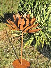 Edelrost Blüte Chrysantheme auf Platte 75 cm