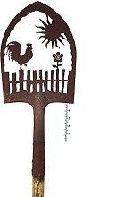 Edelrost Deko-Schaufel mit Regenmesser - Hahn auf Gartenzaun - Höhe 180 cm