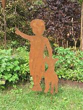 Edelrost Dekofigur Junge mit Hund, 2 Größen