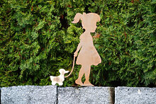 Edelrost Dekofigur Mädchen mit Holzente