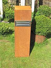 Edelrost Dekosäule Briefkasten inkl. Hausnummer