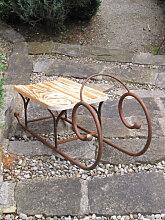 Edelrost Dekoschlitten mit Sitzfläche aus Holz