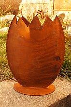 Edelrost Ei zum Bepflanzen 30x23cm Befüllen Ostern Dekoration Vase Garten Terrasse