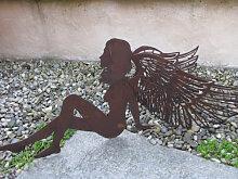 Edelrost Engel mit Doppelflügeln, 60 cm