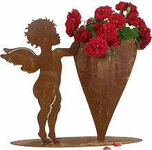 Edelrost Engel mit Herz zum Bepflanzen 50cm auf Bodenplatte