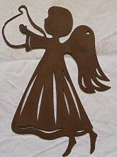 Edelrost Fensterbild Engel mit Harfe