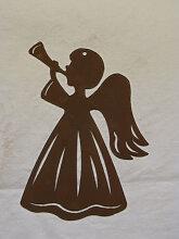 Edelrost Fensterbild Engel mit Trompete
