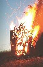 Edelrost Feuerkorb Drache viereck mit Ascheablass