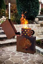 Edelrost Feuerkorb Kartenspiel Feuerzeug