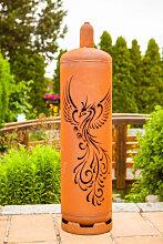 Edelrost Feuersäule Gasflasche Phoenix