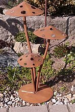 Edelrost Fliegenpilz 3D Garten Terrasse Herbst Dekoration Pilz Skulptur Ros