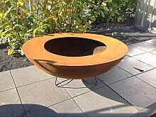 Edelrost Garten Feuerschale mit Staender Rost Feuerschale Feuerkorb aus Metall Rostig Gartenstelle Stark Metall 100*100*20cm 2mm Handarbeit 101526