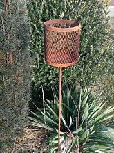 Edelrost Gartenfackel 2-teilig mit Wellengitter
