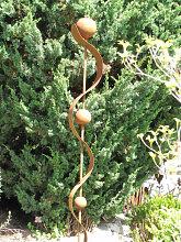 Edelrost Gartenfackel Kugel für Bioethanol 170 cm
