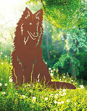 Edelrost Gartenfigur Hund Lassie