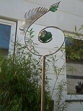 Edelrost Gartenstecker Beetstecker Glaskugel 180cm