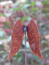 Edelrost Gartenstecker kleine Engelsflügel
