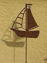 Edelrost Gartenstecker Segelboot