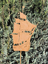 Edelrost Gartenstecker Segelschiff
