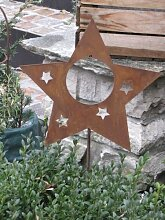 Edelrost Gartenstecker Stern für Kugeln oder