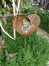 Edelrost Gartenstecker Teelicht Herz