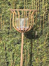 Edelrost Gartenstecker Windlicht Korb 134 cm