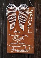 Edelrost Gedichttafel Silberflügel Engel 39x22cm Spruch Schild Gartendeko Handarbei