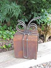 Edelrost Geschenk mit abnehmbarer Schleife, 35 cm