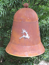 Edelrost Glocke mit Hirsch, 30 cm