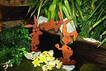 Edelrost Glücklicher Hase auf Platte Dekoration Ostern, Höhe: 49 cm