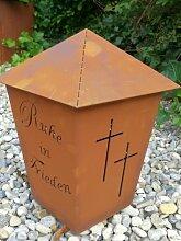 Edelrost Grablicht mit Doppelkreuz