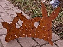 Edelrost Halbring Häschen gebogen 40x25cm Ostern