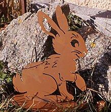 Edelrost Hase Fibi 28x22cm auf Bodenplatte Ostern Gartendekoration Terrasse